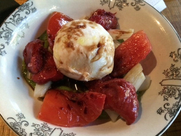 Burrata Cheese, Tomatoes, Asparugus and Strawberries